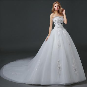 Wedding Dress Long Train Lace With Crystal Appliques Designer Ball Gowns White Princess