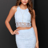 Double Time Light Blue Lace Two-Piece Dress