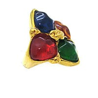 YVES SAINT LAURENT, vintage ring circa 1980's, Gripoix glass