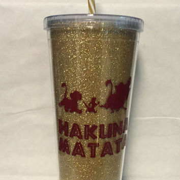 Hakuna Matata glitter tumbler inspired by Disney's The Lion Ling
