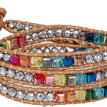 New! 7 Chakra Balancing Leather Wrap Crystal Bracelet with Hematite for Women Collection