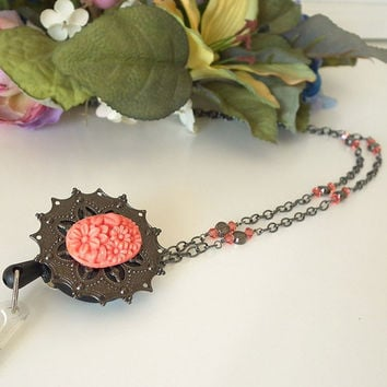Retractable ID Badge Lanyard Convertible to Chain Necklace. Orange Resin Flower Cabochon. Gunmetal Black Filigree Circle