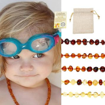 Classic 10 Colors Amber Teething Bracelet/Necklace for Baby Adult Lab Tested Authentic 8 Sizes Natural Amber Stone Women Jewelry