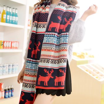 Christmas Deer Snowflake Winter Warm Scarf Cape
