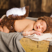 Squirrel Hat - Crochet baby Hat - diaper cover - Baby animal hat - newborn photo prop - crochet baby outfit - character hat - squirrel set