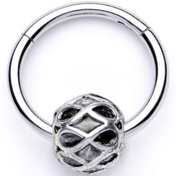 "16 Gauge 3/8"" Geometric Pattern Bead Hinged Segment Ring"