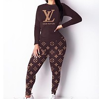 LV Louis Vuitton New fashion monogram print long sleeve top and pants two piece suit Coffee