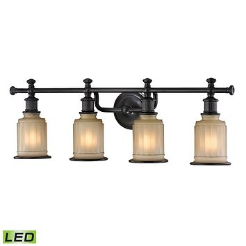 Acadia 4-Light Vanity Lamp in Oiled Bronze with Opal Reeded Pressed Glass - Includes LED Bulbs
