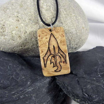 Rocket ship Necklace - Mens Rocket Necklace - Wood Necklace - Hand Engraved Pendant - Mens Leather Necklace - Sci Fi Jewelry