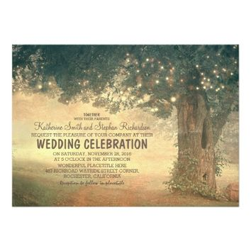 string of lights rustic tree wedding invitation