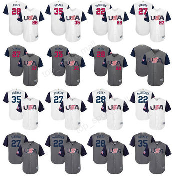 2017 World USA Classic Baseball Jerseys American WBC 3 Ian Kinsler 10 Adam Jones 12 Nolan Arenado Jersey White Gray 13 Matt Carpenter