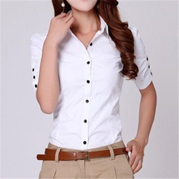 Brand Women Tops Plus Size Clothing Cotton Button Down Short Sleeve Shirts Formal Tunic White Blouse Top Blusas Feminina