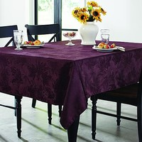 "Essential Home 70""Round Damask Tablecloth - Plum - Autunm Leaves"
