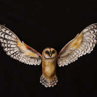 Barn Owl~ painted polymer clay necklace