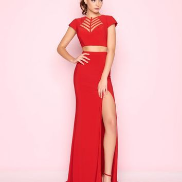 Mac Duggal - 2019L Illusion Arrowhead Accented Two-Piece Gown