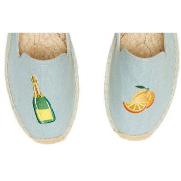 Soludos Mimosa Embroidered Platform Smoking Slipper in Chambray - Soludos Espadrilles