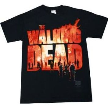 Walmart: The Walking Dead Two Fire Logo Zombie Mens Black T-shirt