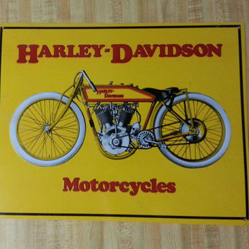 Harley Davidson Motorcycles Vintage Style Metal Sign Yellow 1920's Bike