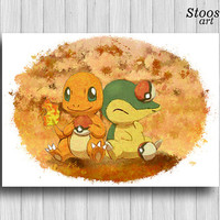 Charmander and Cyndaquil print pokemon painting manga