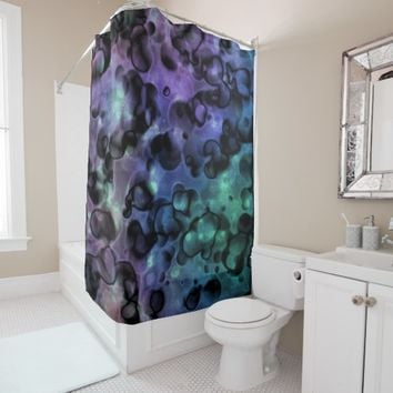 Purple Blue N Teal Abstract Bubbles Shower Curtain