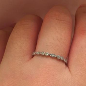 Silver Cubic Zirconia Thin Delicate Band  | Engagement | Wedding