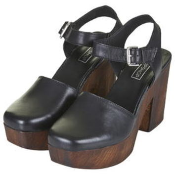 SMILE Leather Wooden Clogs