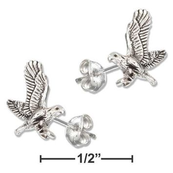 Sterling Silver Earrings:  Mini Flying Eagle Earrings On Stainless Steel Posts And Nuts