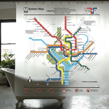 DC Transit Map PEVA Shower Curtain