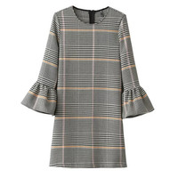 Houndstooth Flared Sleeve Causal Dress