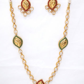 Simply Leaf Design Kundan stone Necklace and Earring set