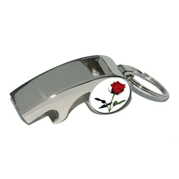Red Rose - Love - Flower Whistle Bottle Opener Keychain