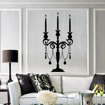 Vinyl Wall Decal Candlestick Vintage Candle Room Decoration Sticker Murals Unique Gift (ig3633)