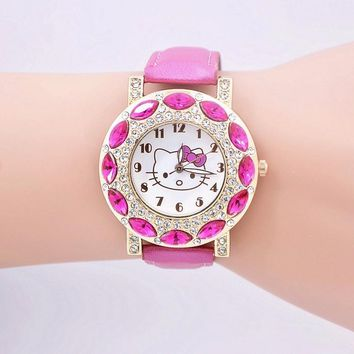 New Fashion cartoon hello kitty watches girls children leather dress watch quartz rhinestone kids wristwatch relogio infantil
