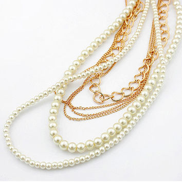 Handcrafted Multilayer Pearl Necklace Lady Wearing Jewelry, Fashion Jewelry, Wedding Jewelry, Party Accessory, Birthday Gifts 11032642