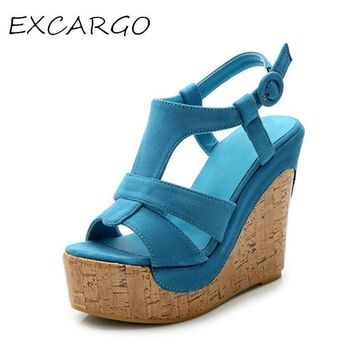 Candy Color Women's Sandals Small Size 32 33 Bohemian Shoes Thick Bottom Wedges Open T