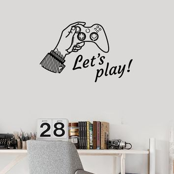 Vinyl Wall Decal Let's Play Phrase Quote Video Games Joystick Gaming Art Stickers Mural (ig5523)