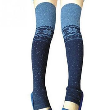 1 Pair Winter Warm Snowflake Thigh High Leg Warmers Long Socks Soft Over Knee Knitted  Boot Cuff