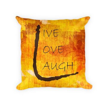 Live Love Laugh III Woven Cotton Pillow