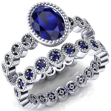 Borea Oval Blue Sapphire Full Bezel Milgrain Diamond Accent Full Eternity Ring