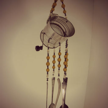 Wind chime with re purposed vintage silver plated flatware -   mini flour sifter with amber glass beads