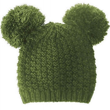 Mickey Mouse Double Pom Pom Beanie Hat - Army