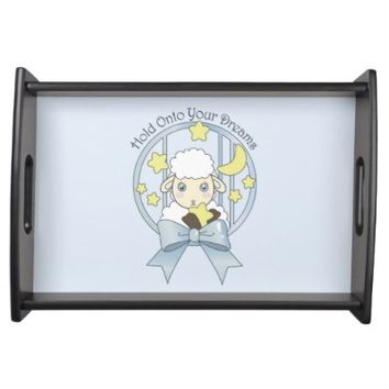 Cute Animal Girly Serving Trays: Girl Birthday or Baby Shower Gift Idea: Kawaii Lamb, Moon, and Stars: Hold Onto Your Dreams