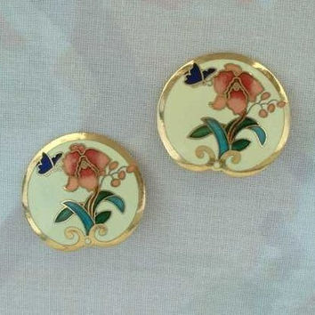 Cloisonne Enamel Clip On Earrings Pink Flower Butterfly Green Leaves Jewelry