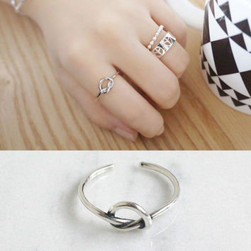 Simple Knot Heart Love Ring Real 925 Sterling Silver Jewelry For Womens Vintage Open Rings Silver 925 Finger Rings Bague Femme