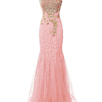 US Women's Long Prom Dress Mermaid Bridesmaid Dress Lace Evening Party Gowns