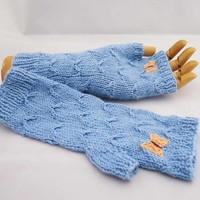 Fingerless Mittens in Blue, Catching Butterfly Fingerless Mittens, Butterfly Mit