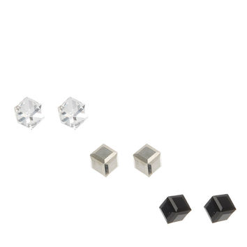 Black, Silver and Clear Cubed Stud Earrings