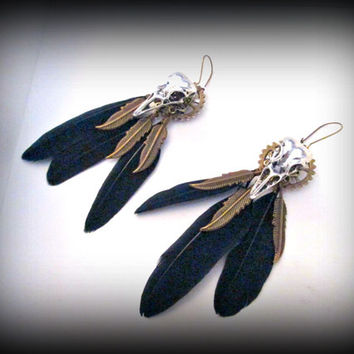 Raven skull earring-black bird feather earring-skull earring-dangle earring-feather earring-gothic earring-punk earring-steampunk earring