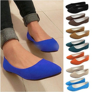 New Women Ladies Girls Ballerina Loafers Flats Ballet Casual Sli a5715b9c27