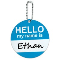Ethan Hello My Name Is Round ID Card Luggage Tag